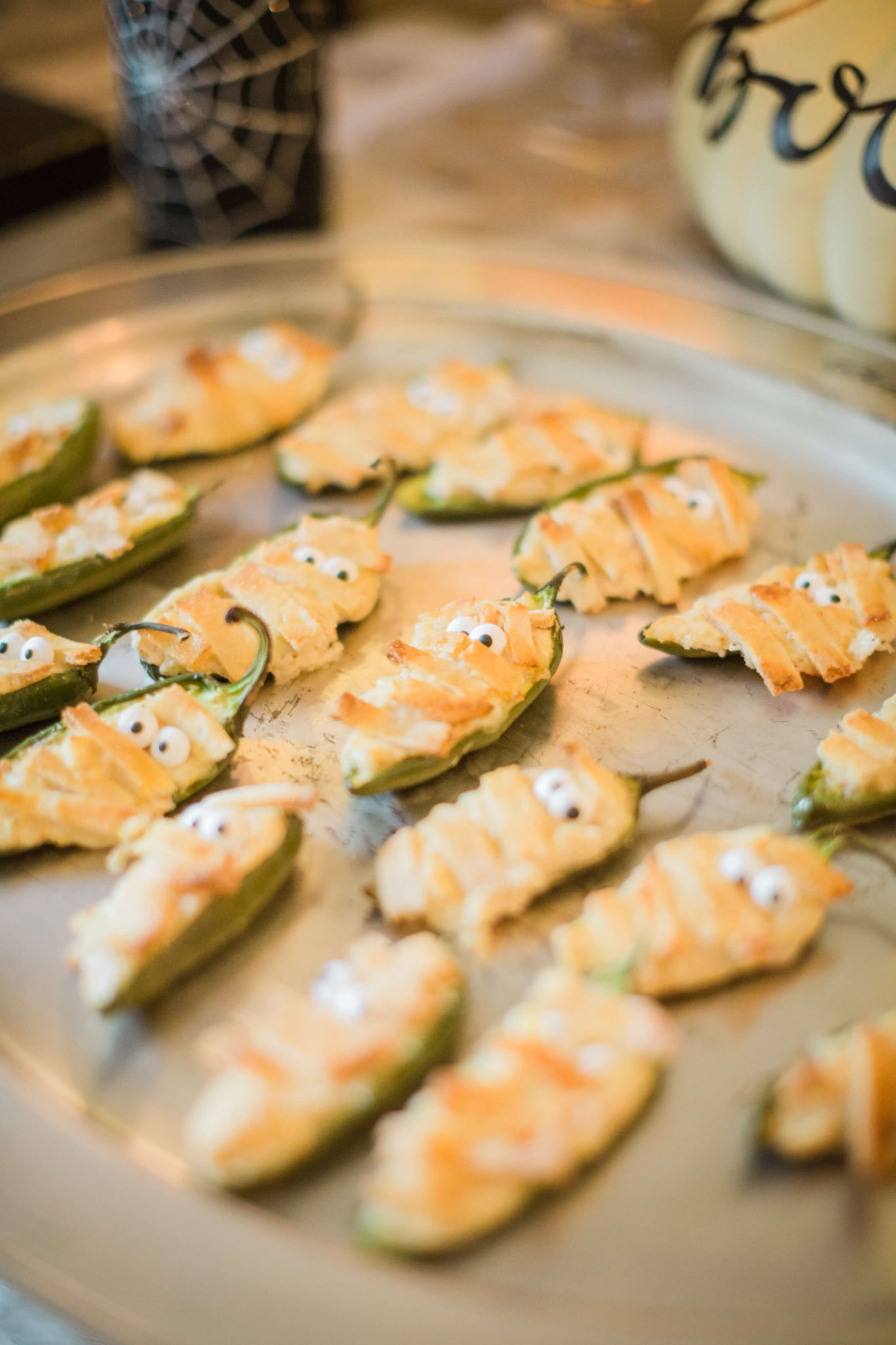 Gluten Free 'Mummy' Jalapeno Poppers // Halloween Party Recipe // www.https://www.thehisfor.com